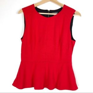 VINCE CAMUTO peplum top Medium Red back zip t507